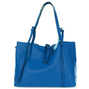 Gianni Chiarini Italian Made Blue Pebbled Leather Slouchy Open Top Tote Handbag