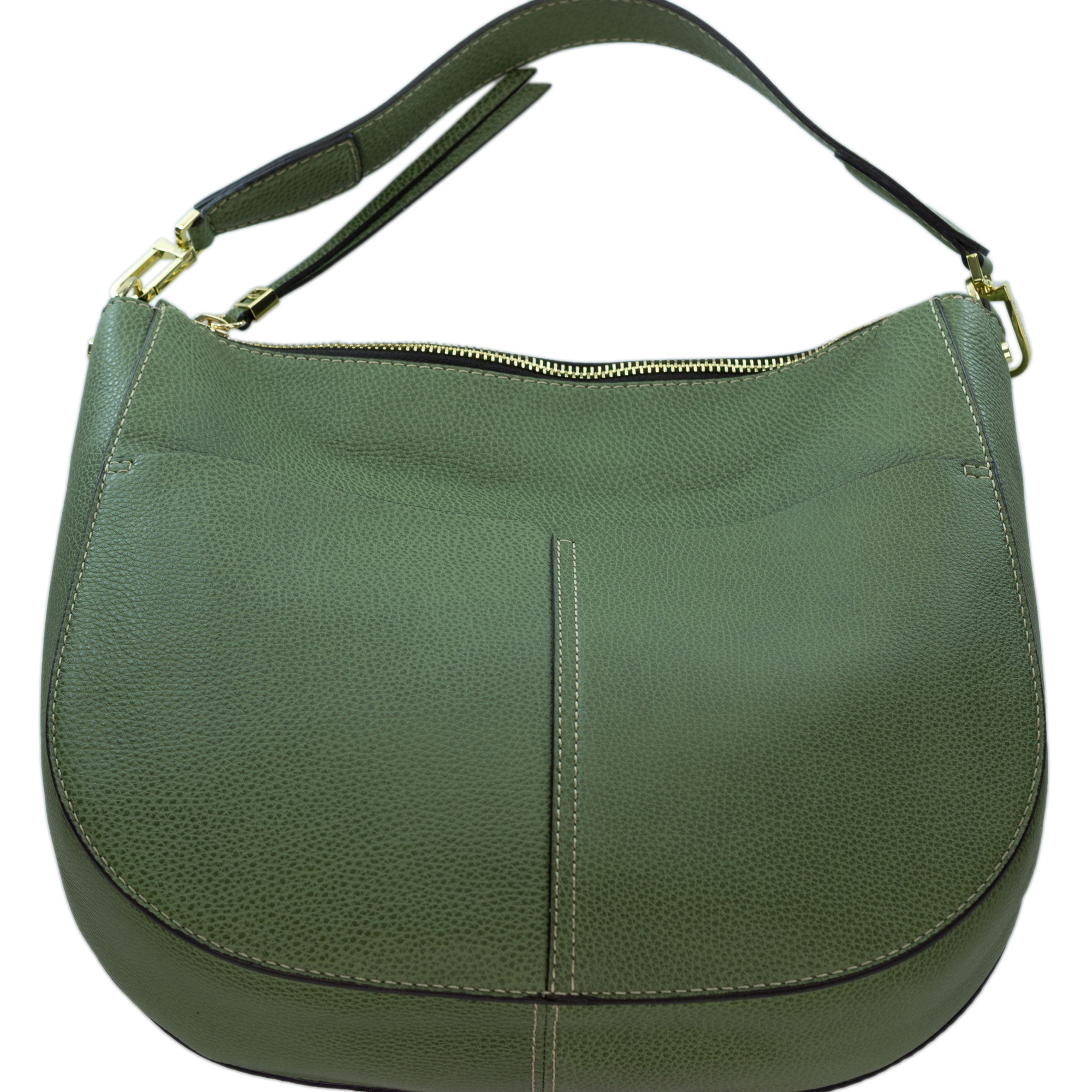2645160353f6 Gianni Chiarini Italian Made Moss Green Pebbled Leather Large Front Pockets  Hobo Bag