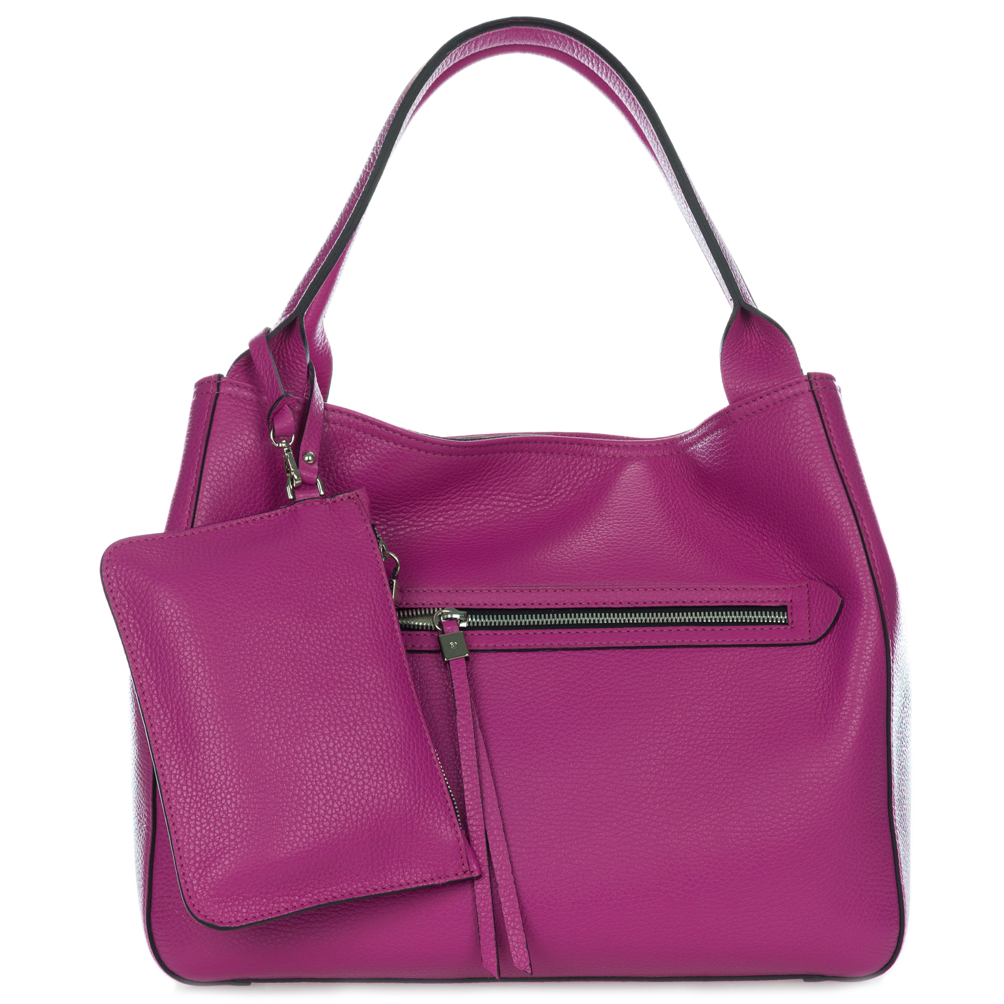 Gianni Chiarini Italian Made Magenta Pink Leather Large Zip Pocket Carryall Tote Handbag with Pouch