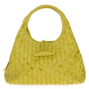 Paolo Masi Italian Made Mustard Yellow Hand Woven Leather Purse Handbag