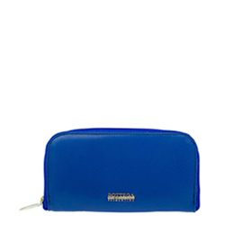Bottega Fiorentina Italian Made Blue Calf Leather Womens Zip Around Wallet
