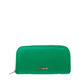 Bottega Fiorentina Italian Made Green Calf Leather Womens Zip Around Wallet