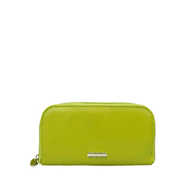 Bottega Fiorentina Italian Made Pistachio Calf Leather Womens Zip Around Wallet