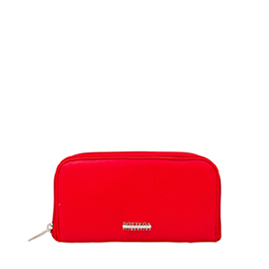 Bottega Fiorentina Italian Made Red Calf Leather Womens Zip Around Wallet