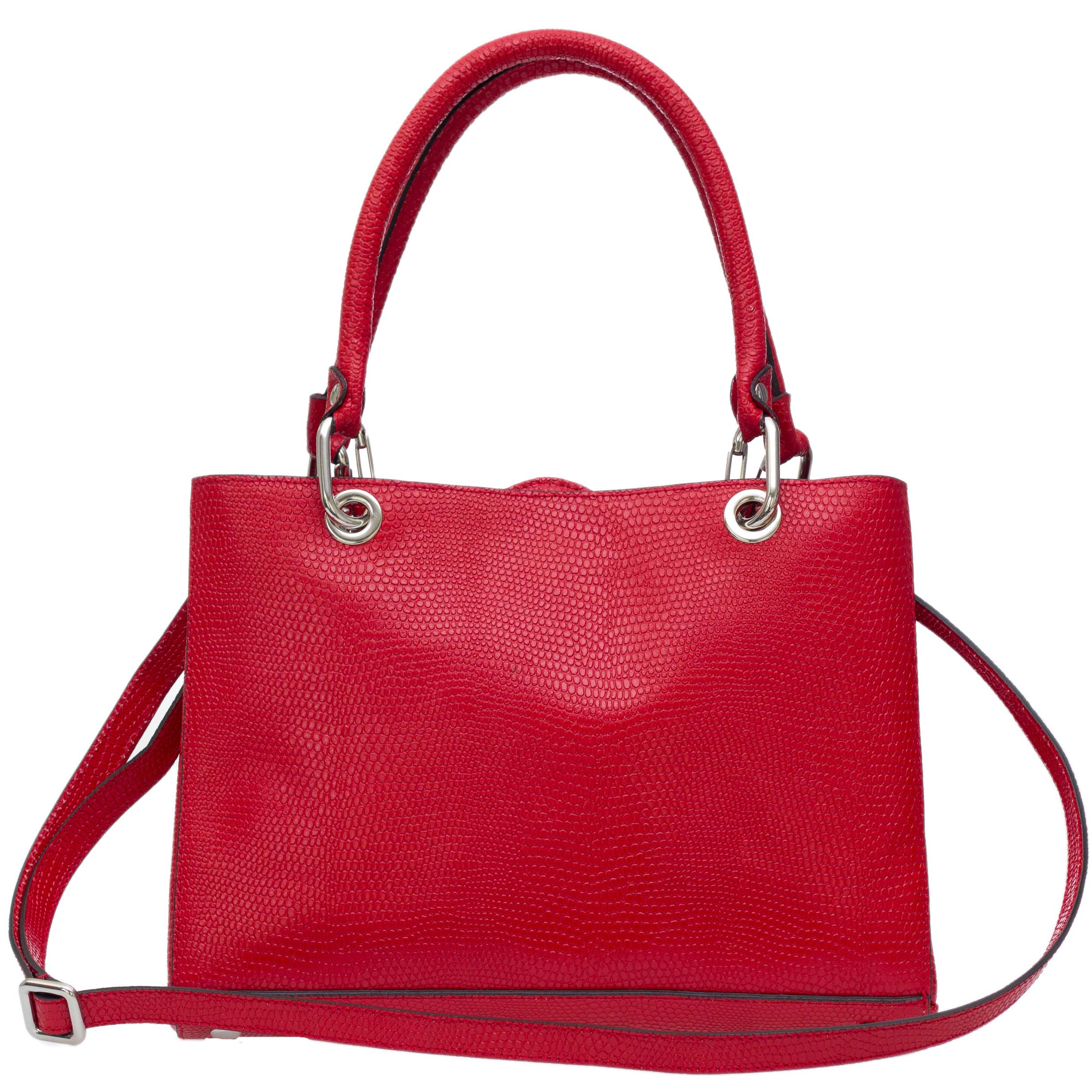 Plinio Visona Italian made red embossed leather small tote bag