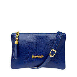 Bottega Fiorentina Italian Made Blue Lizard Print Leather Small Crossbody Bag