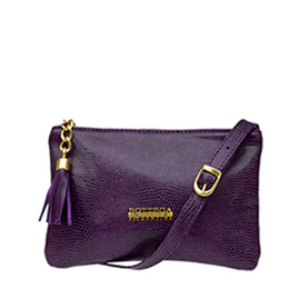 Bottega Fiorentina Italian Made Purple Lizard Print Leather Small Crossbody Bag