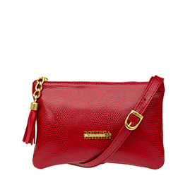 Bottega Fiorentina Italian Made Red Lizard Print Leather Small Crossbody Bag