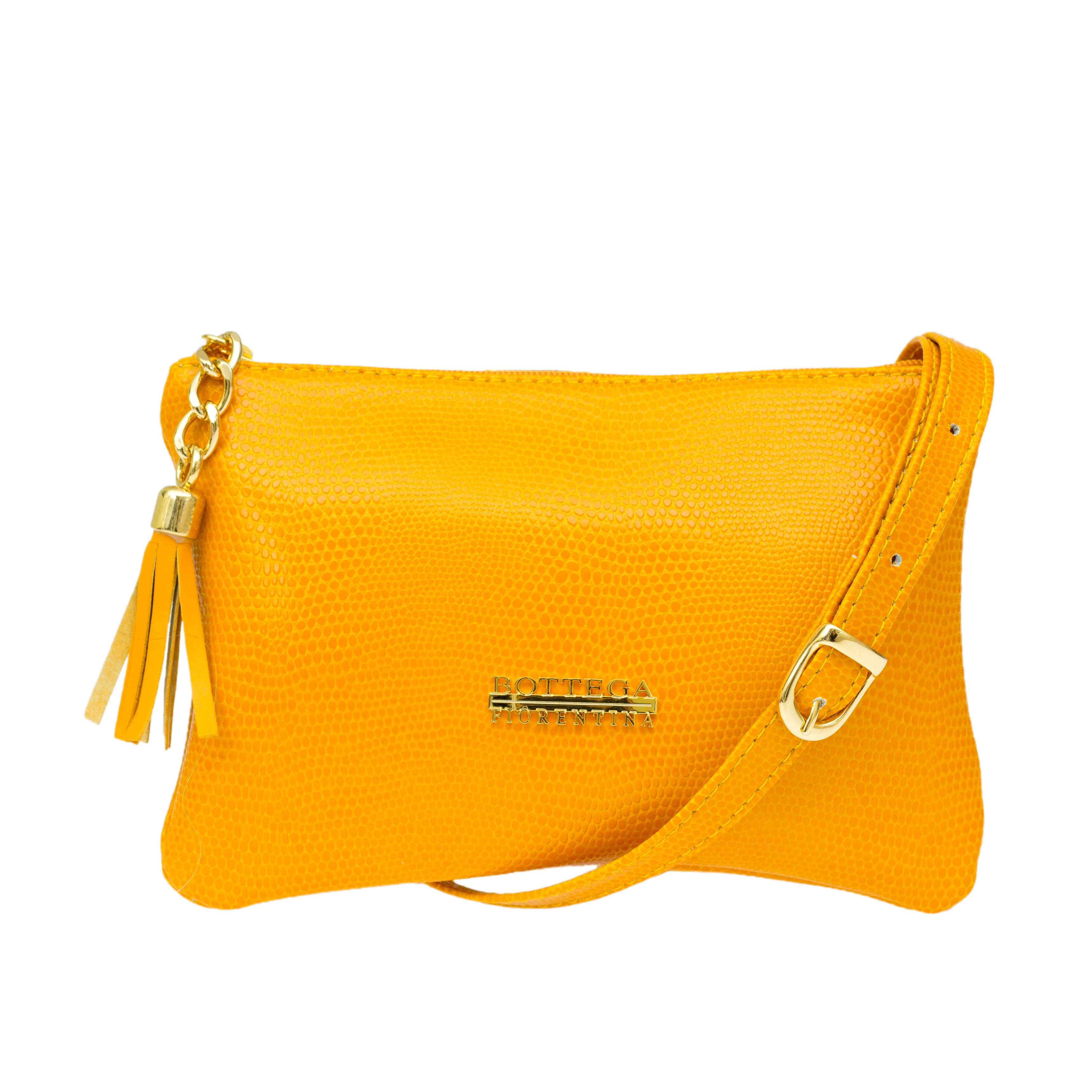 Bottega Fiorentina Italian Made Yellow Lizard Print Leather Small Crossbody Bag