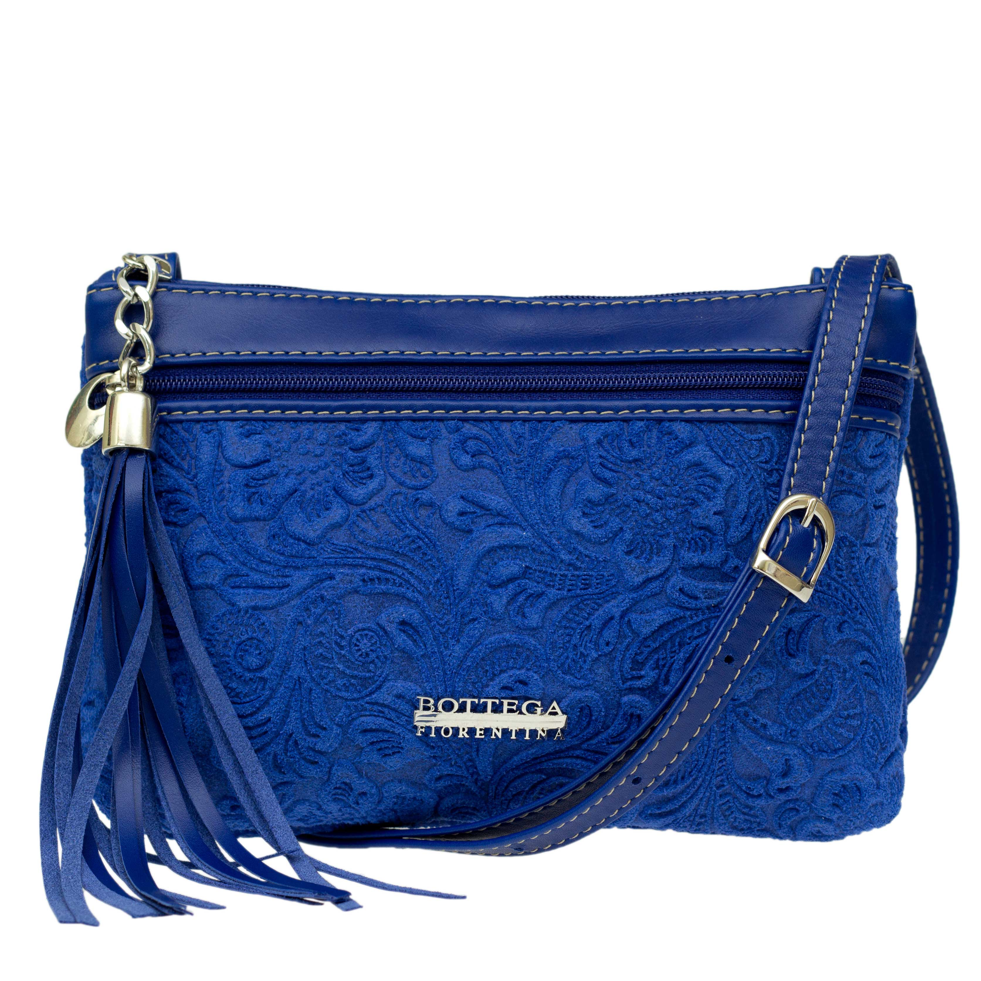 Bottega Fiorentina Italian Made Blue Floral Embossed Leather Crossbody Bag