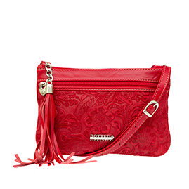 Bottega Fiorentina Italian Made Red Floral Embossed Leather Crossbody Bag