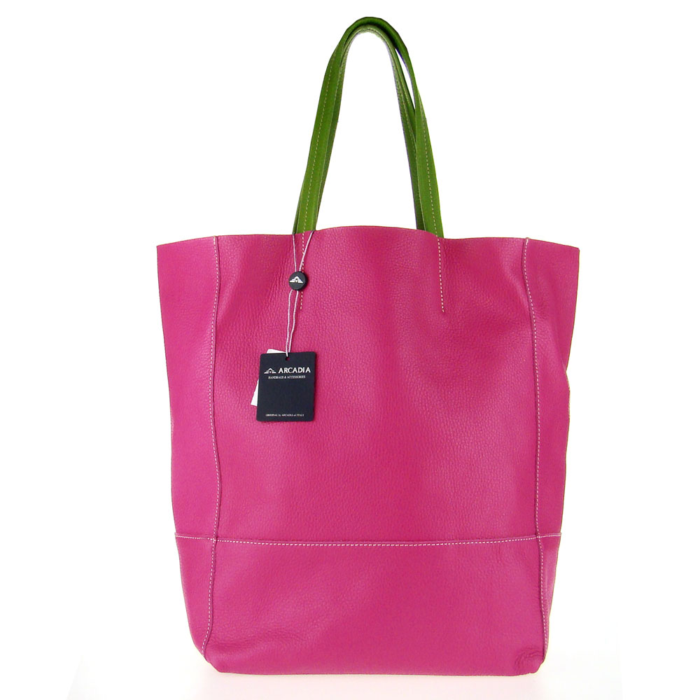 Arcadia Italian Made Fuchsia Pink Calf Leather Oversize Designer Shopper Tote Bag