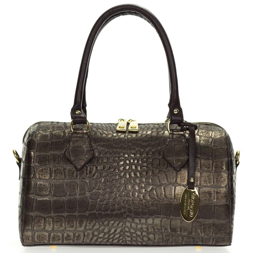 Giordano Italian Made Crocodile Embossed Bronze Leather ...
