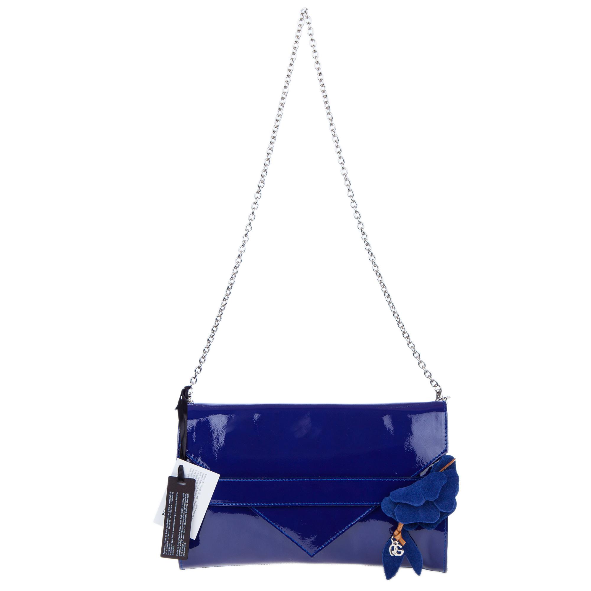 Roberta Gandolfi Italian Made Navy Blue Patent Leather Evening Bag Clutch