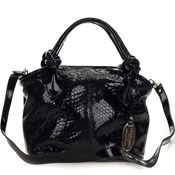 Giordano Italian Made Black Patent Leather Python Embossed Leather Small Handbag Purse