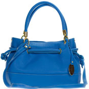 Giordano Italian Made Blue Leather Drawstring Satchel Handbag
