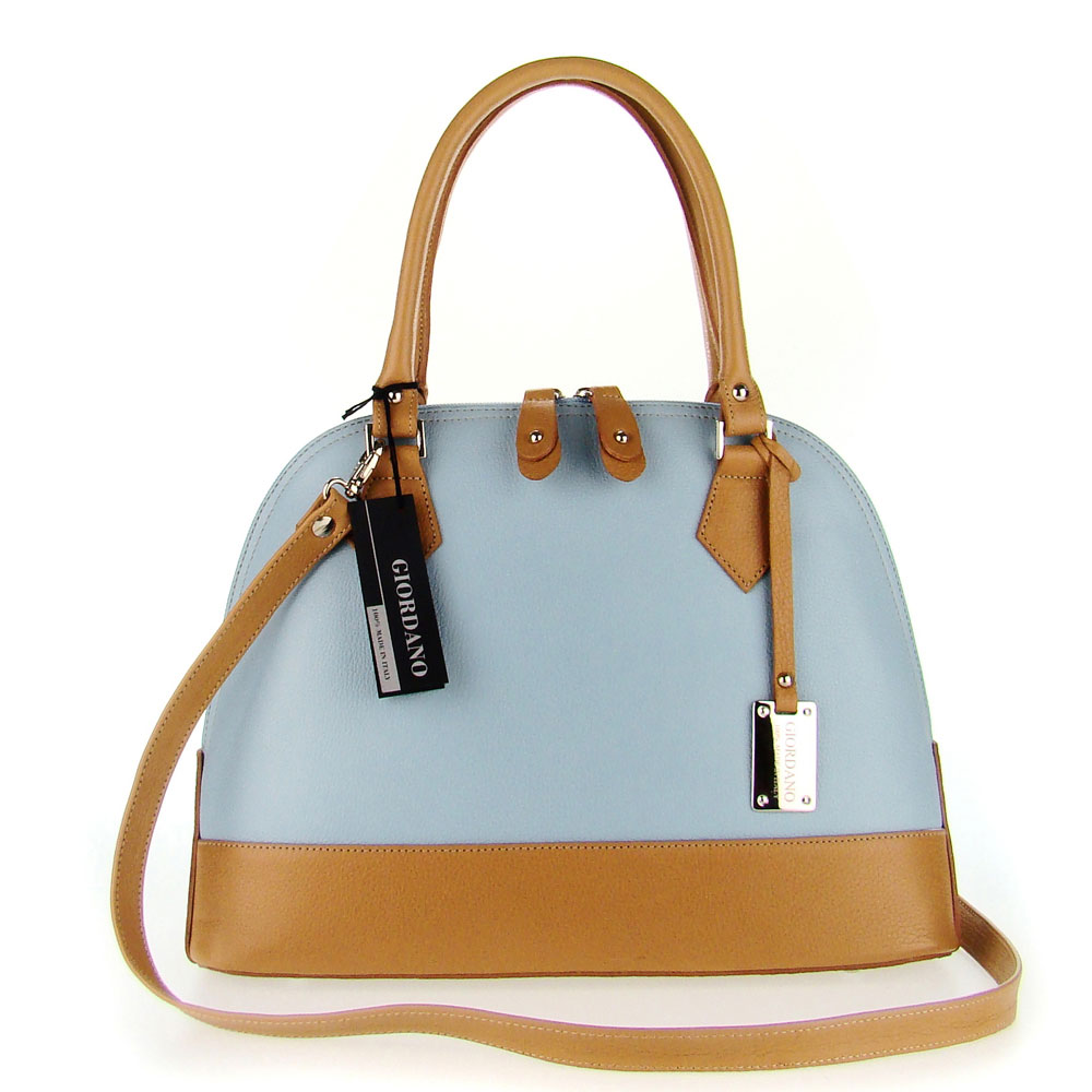 Giordano Italian Made Light Blue & Tan Leather Structured Designer Tote Handbag