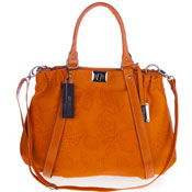 Giordano Italian Made Orange Flower Embossed Leather Large Tote