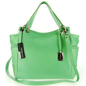 Giordano Italian Made Green Leather Large Designer Shopper Tote Handbag