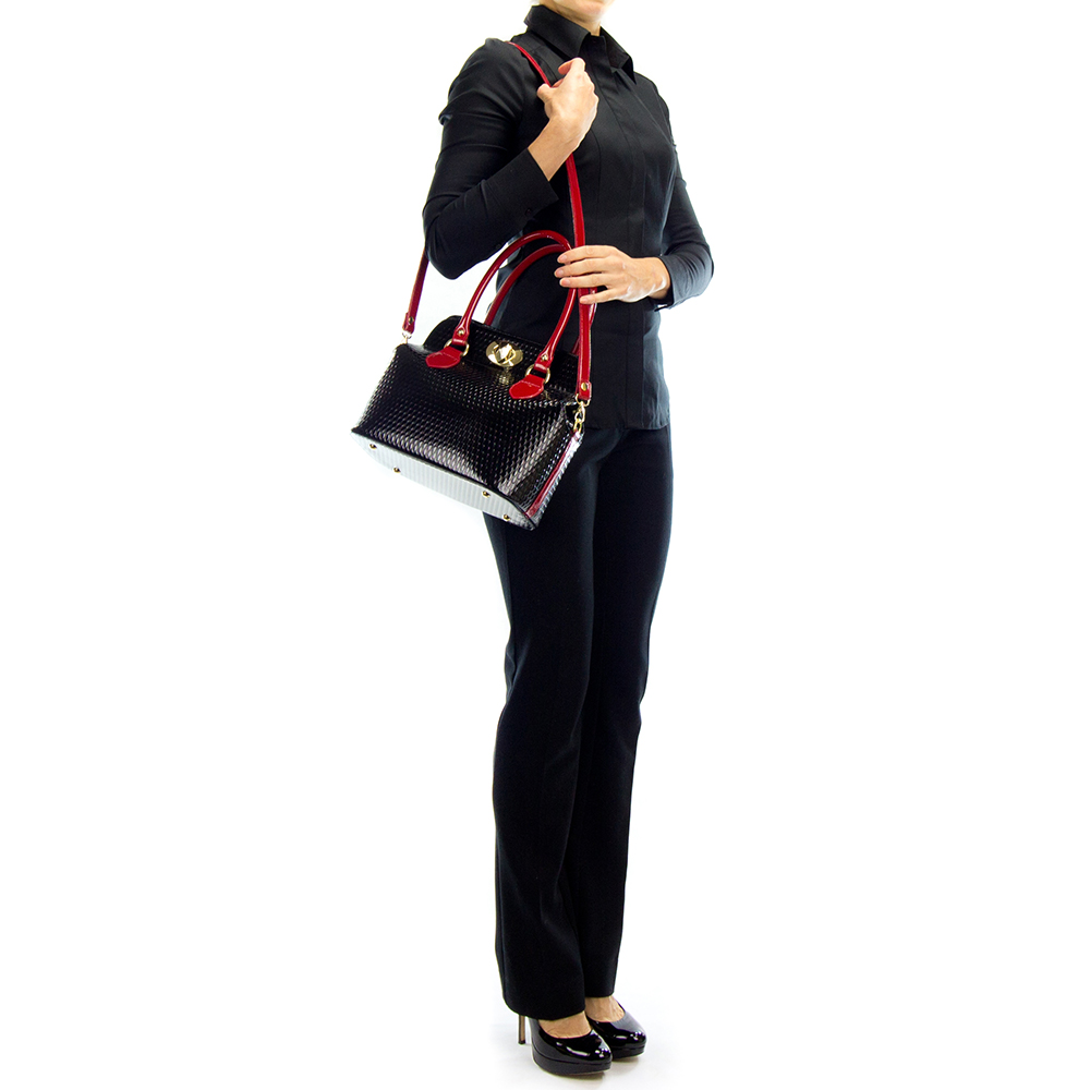 05b2f681c2d54 AURA Italian Made Black & Red Patent Leather Structured Tote Handbag. Hover  to zoom. Add to Wish List