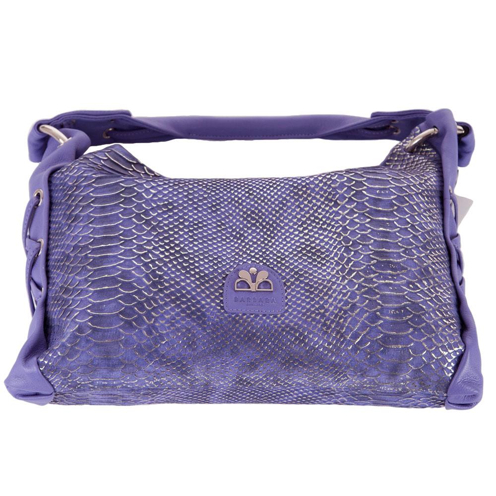 Gorgeous Snake Skin Print Bag Quality Over Quantity Price: Barbara Milano Italian Designer Violet Snakeskin Print