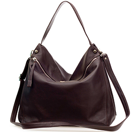 Bruno Rossi Italian Made Brown Leather Hobo Bag