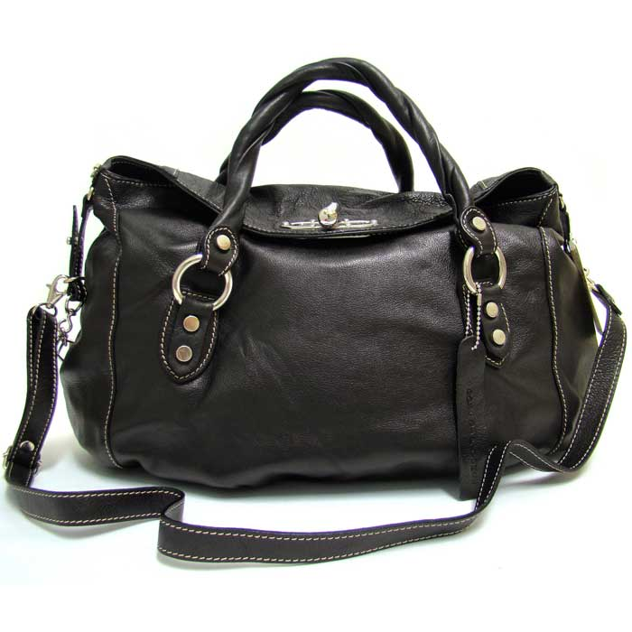 Robe Di Firenze Italian Black Leather Oversized Tote Bag - / Clearance /