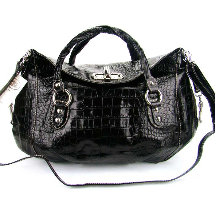 Robe Di Firenze Italian Designer Black Croc Embossed Leather Handbag - / Clearance /
