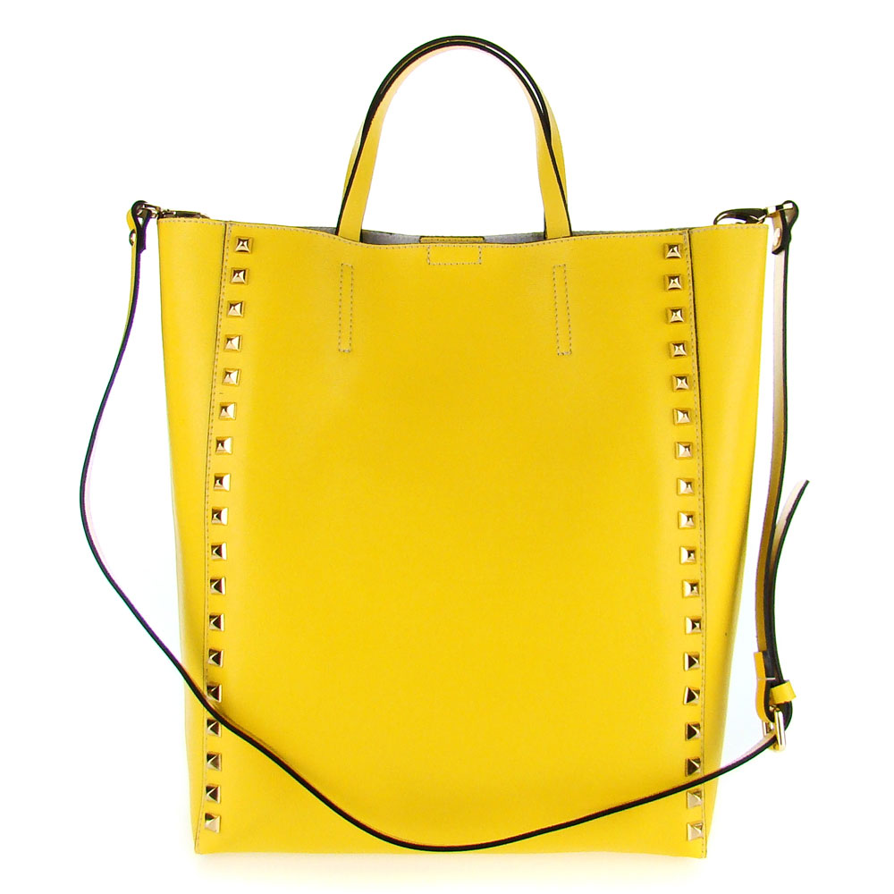 Asia Bellucci Italian Made Yellow Leather Large Structured Designer Studded Tote - / Clearance /