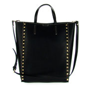 Asia Bellucci Italian Made Black Leather Large Structured Designer Studded Tote