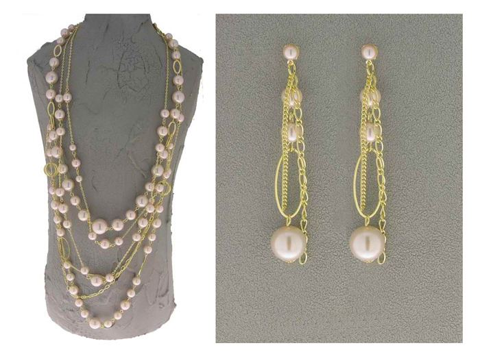 Italian Fashion Jewelry Set: Necklace And Earrings