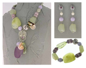 Italian Fashion Jewelry Set: Necklace, Earrings, Bracelet