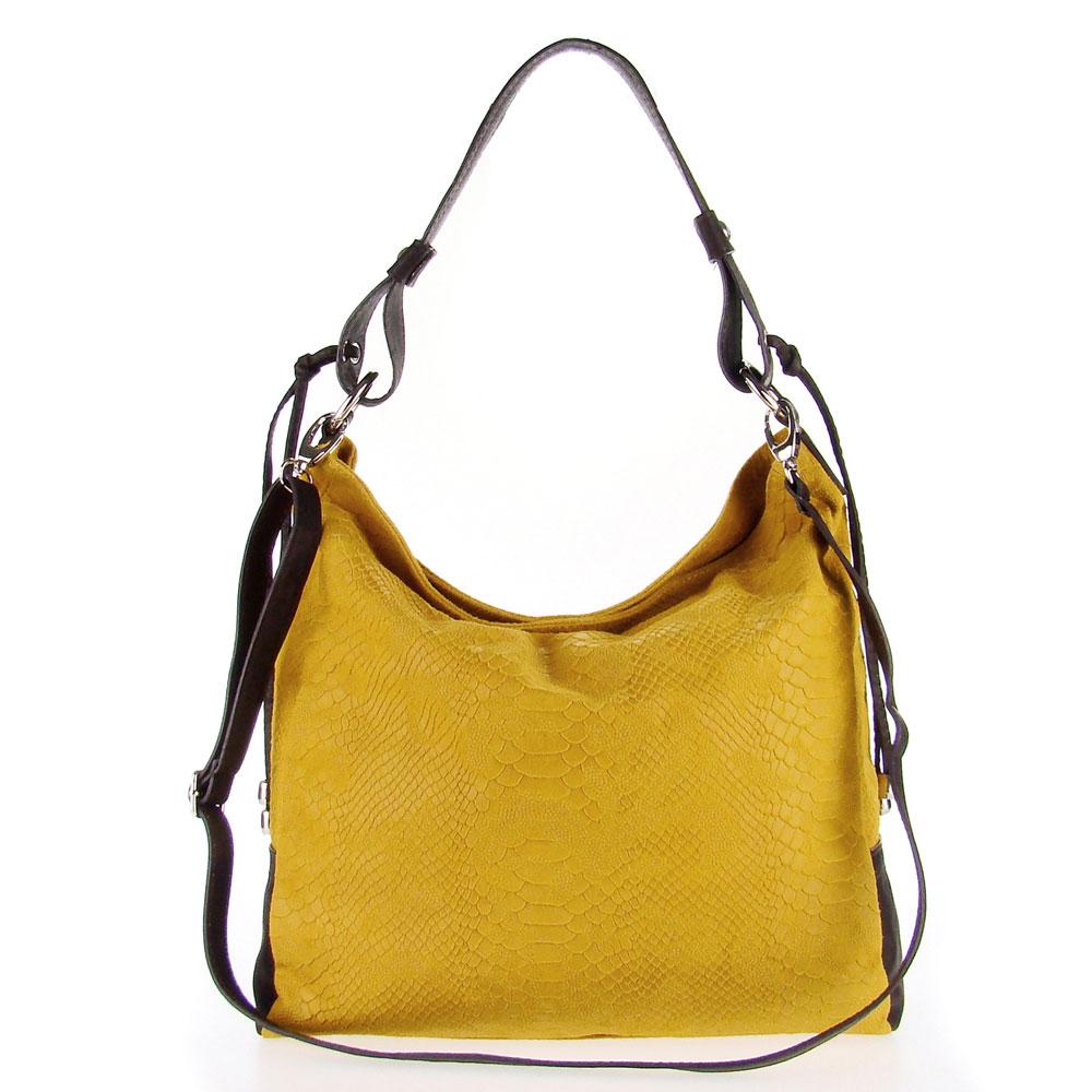 688178c014 Add to My Lists. Studiomoda Italian Made Mustard Yellow Snakeskin Embossed  Leather Large Designer Carryall Hobo Bag
