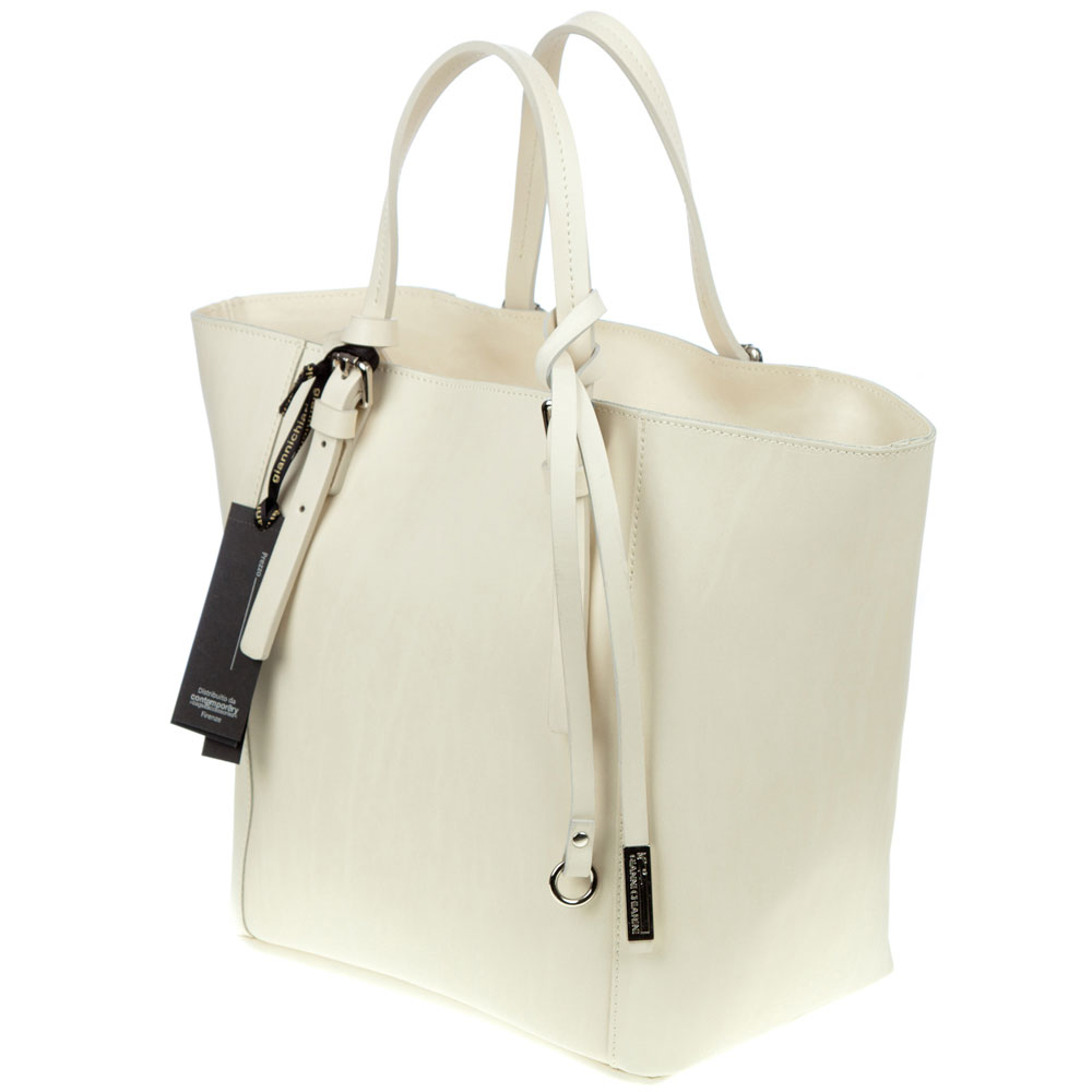 8e6755bae058 Gianni Chiarini Italian Made Cream Leather Structured Tote With Wallet