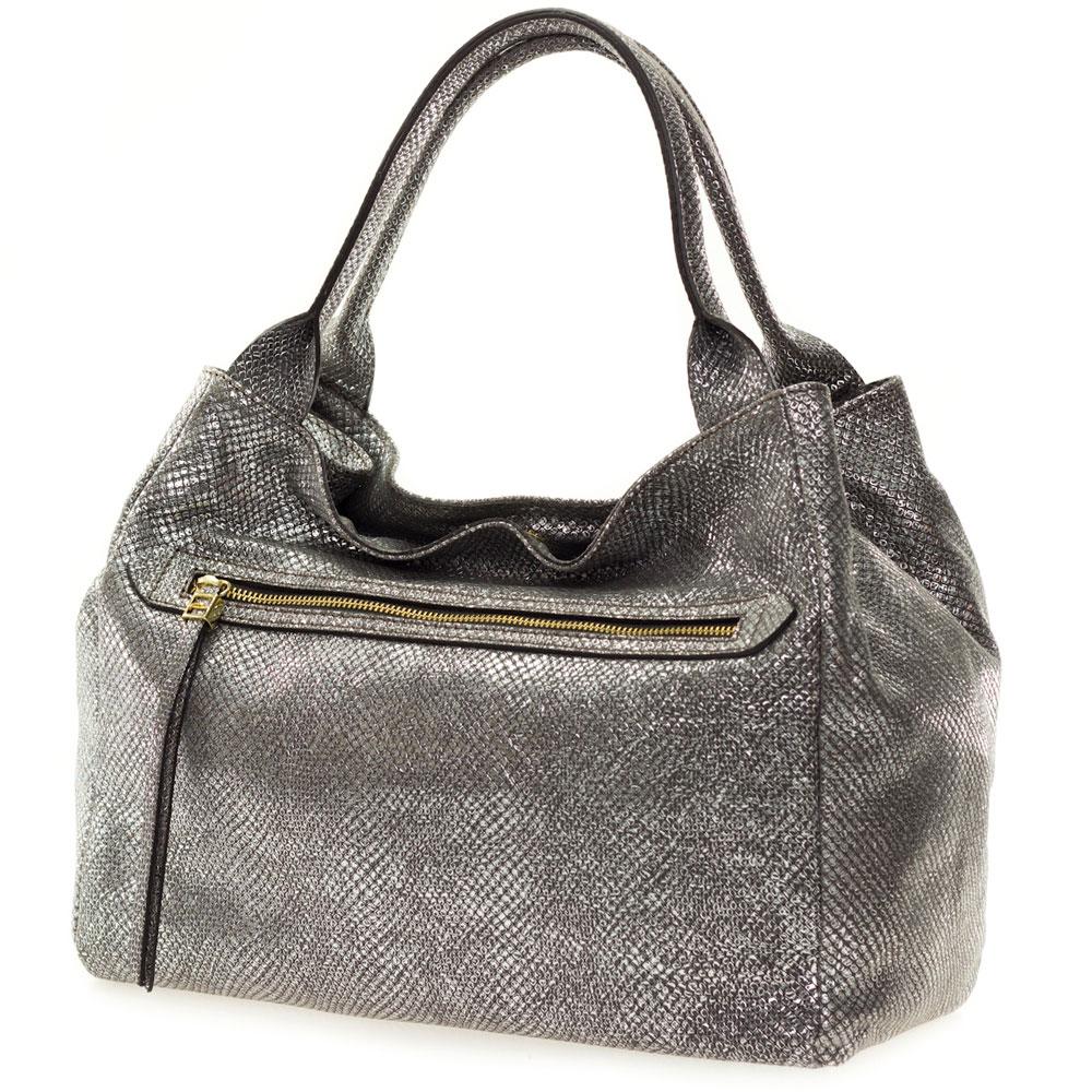 Gianni Chiarini Italian Made Metallic Pewter Large Zip Pocket Tote Handbag With Pouch