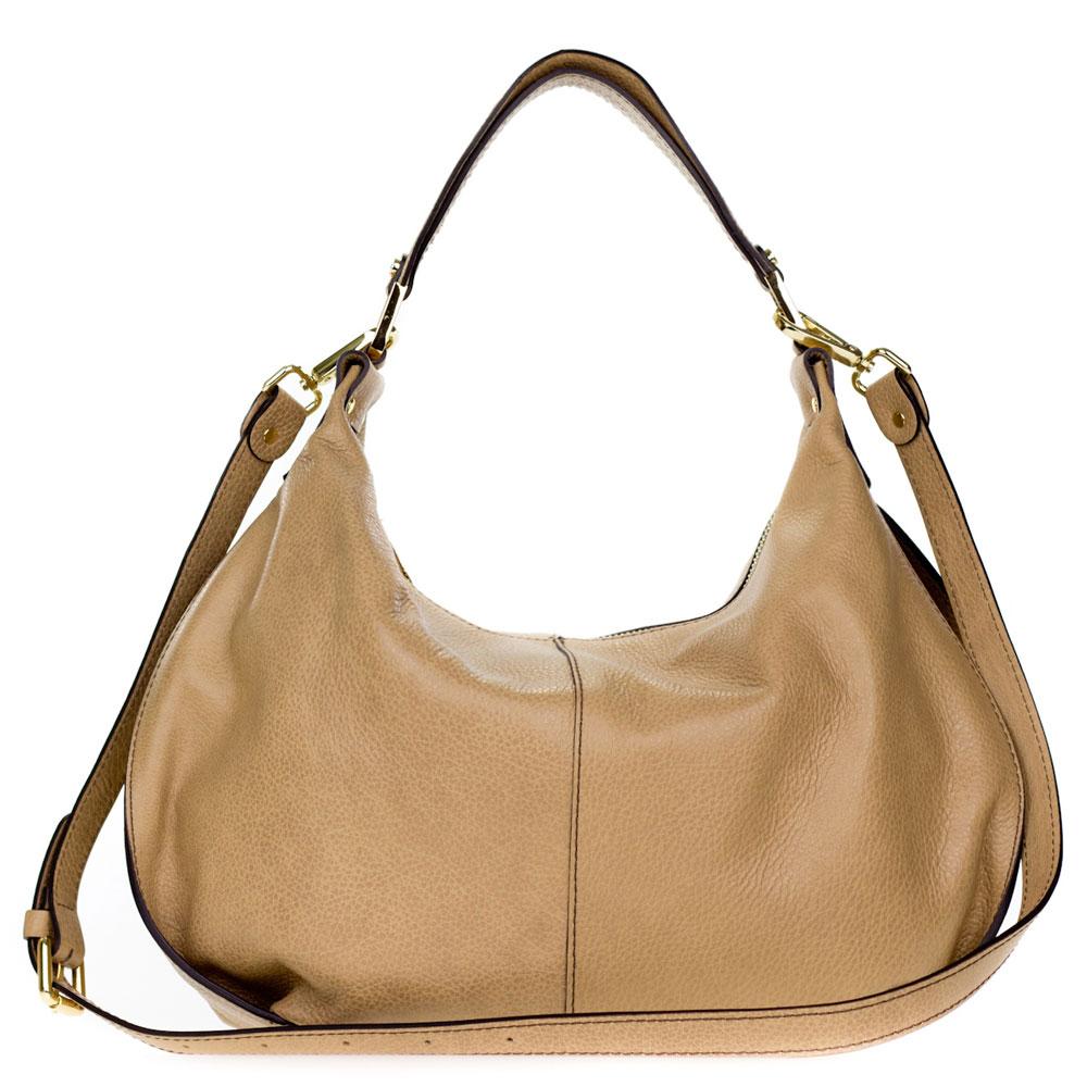 84d5fc4388 Gianni Chiarini Italian Made Beige Pebbled Leather Slouchy Hobo Bag