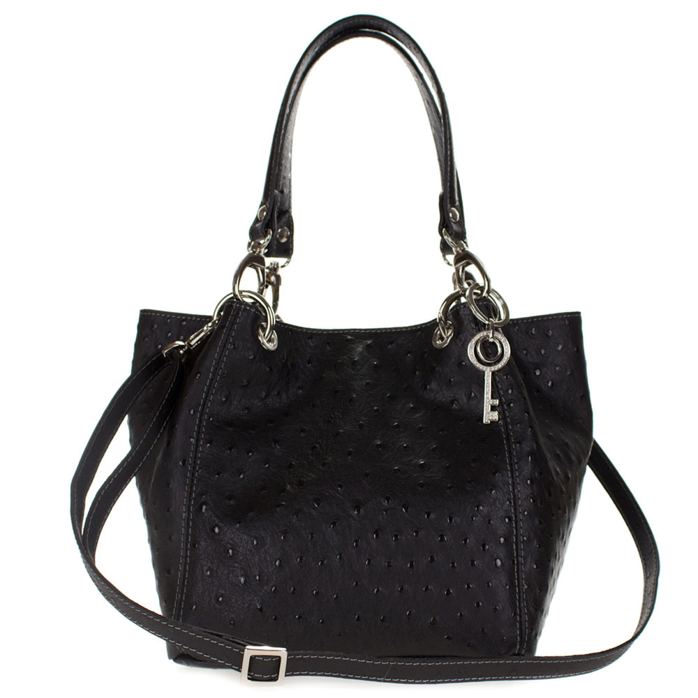 maxima italian made black ostrich embossed leather medium size tote shoulder bag. Black Bedroom Furniture Sets. Home Design Ideas