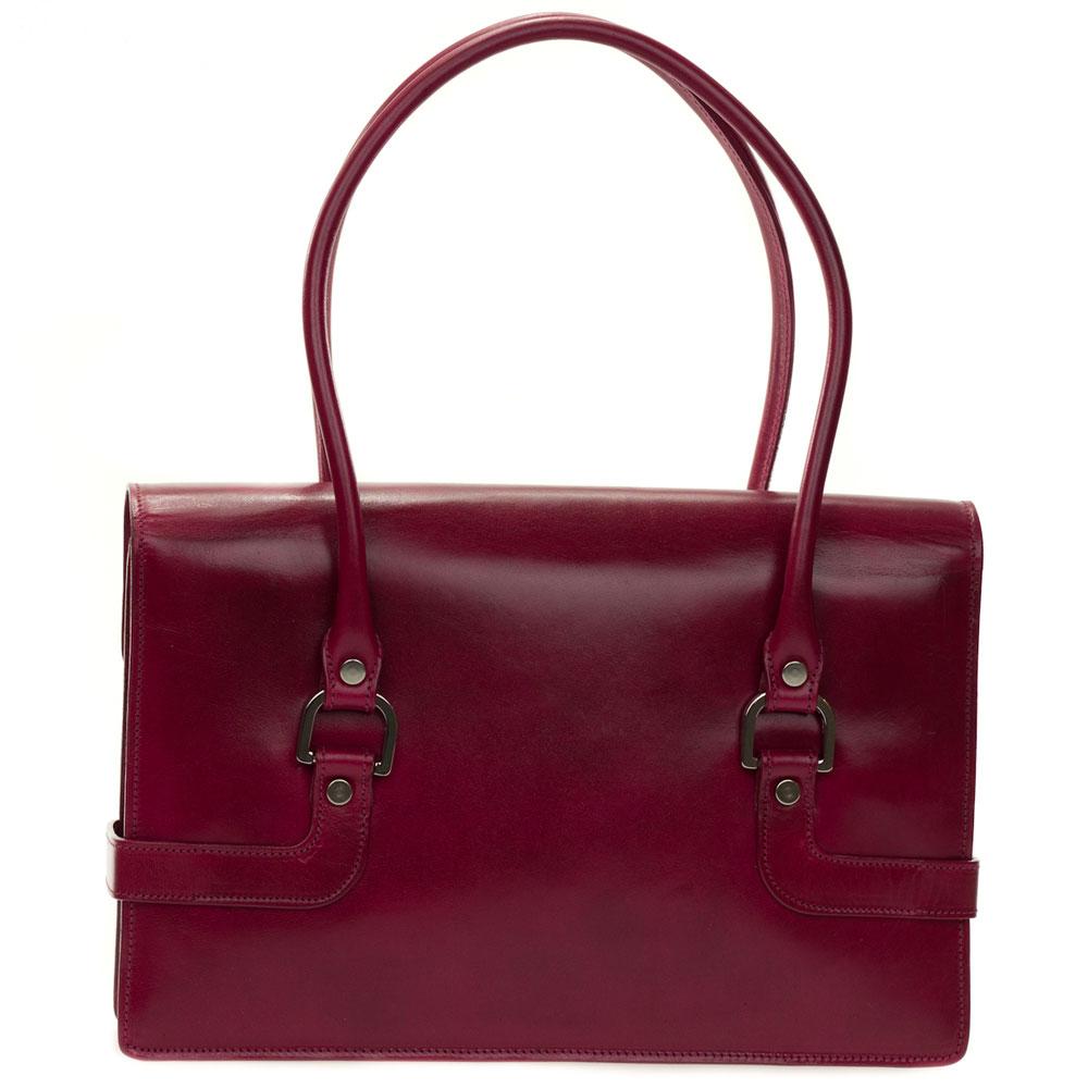 L.A.P.A. Italian Designer Magenta Red Leather Shoulder Bag ...