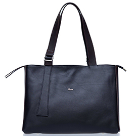 Bruno Rossi Italian Made Black Calf Leather Large Tote Bag