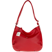 Bruno Rossi Italian Made Red Pebbled Leather Large Hobo Bag