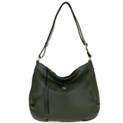 Bruno Rossi Italian Made Moss Green Pebbled Leather Large Hobo Bag