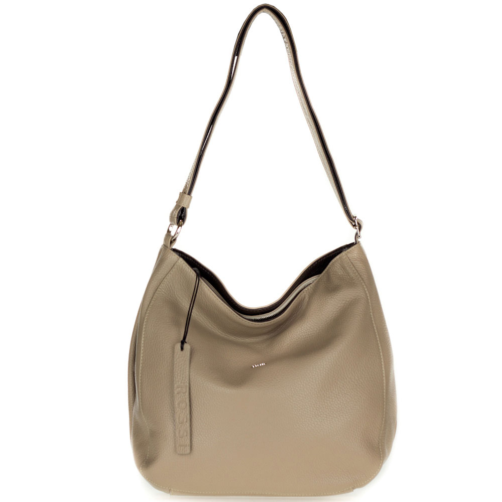 Bruno Rossi Italian Made Beige Leather Large Hobo Bag with Side Pocket