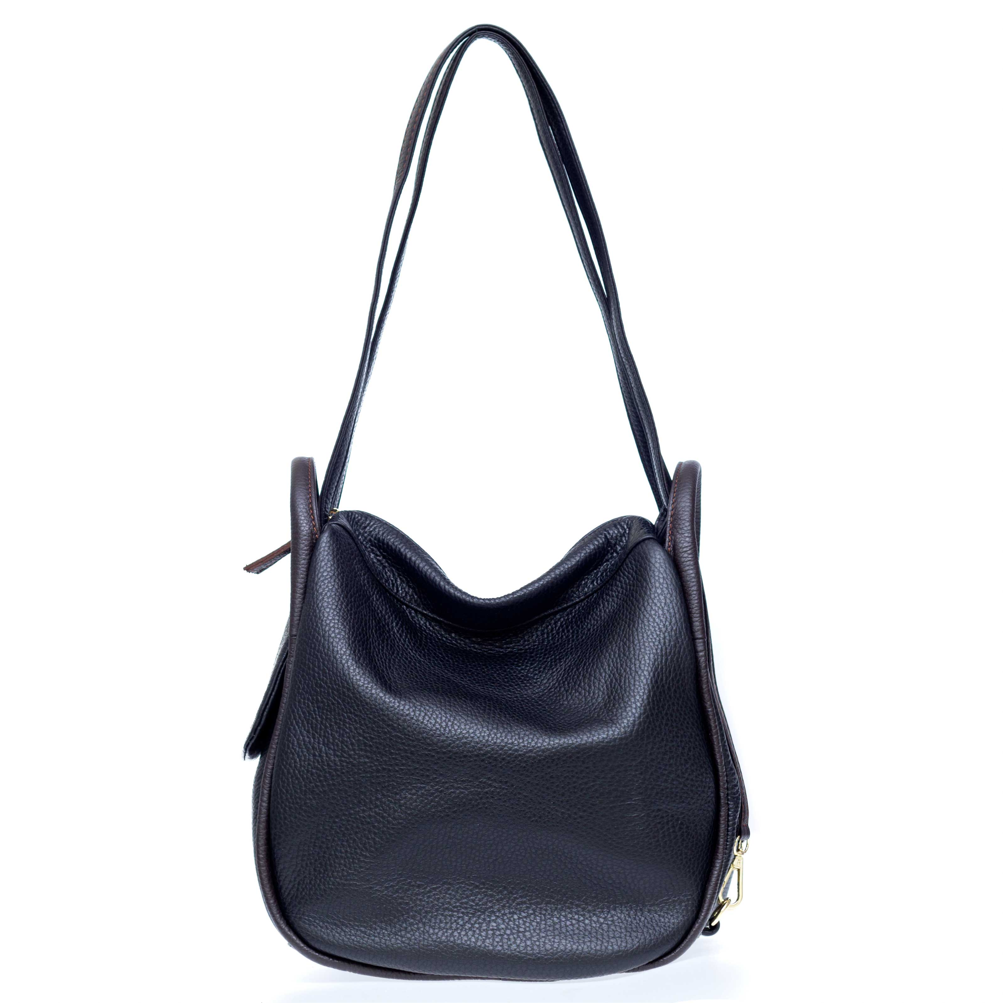 Bruno Rossi Italian Made Black Pebbled Leather Convertible Hobo Bag Backpack