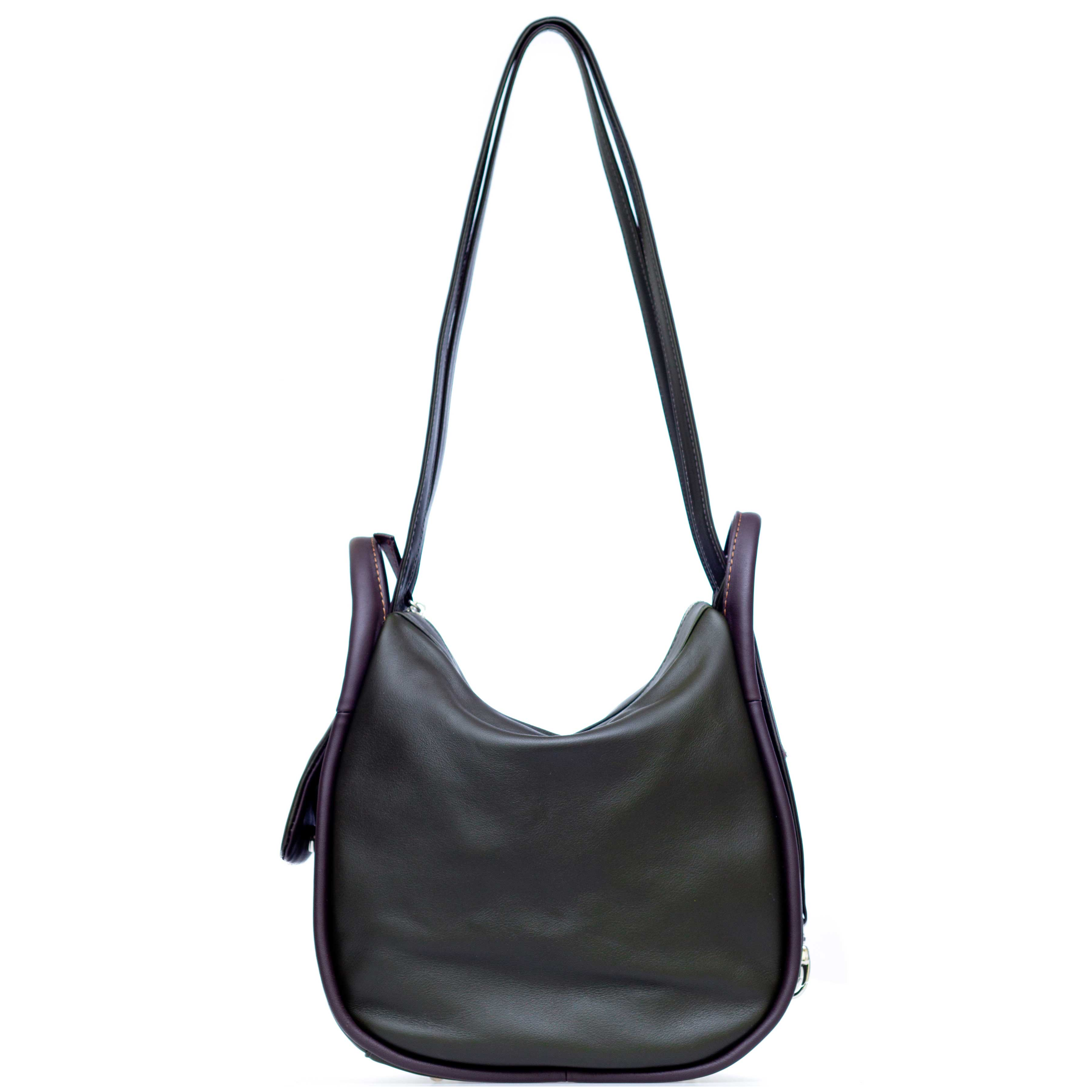 Bruno Rossi Italian Made Dark Moss Green Calf Leather Convertible Hobo Bag Backpack
