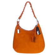 Giordano Italian Made Orange Flower Embossed Leather Shoulder Bag