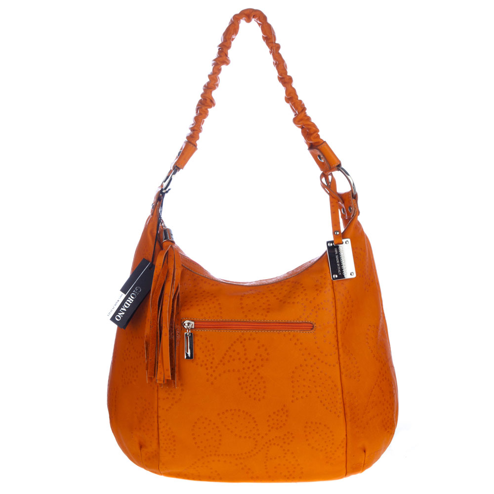 Giordano Italian Made Orange Flower Embossed Leather Shoulder Bag - /CLEARANCE/