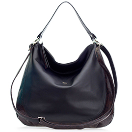 Bruno Rossi Italian Made Black Leather Large Hobo Bag with Snakeskin Detail
