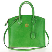 Pratezi Italian Made Polished Calf Leather Tote Handbag - Green