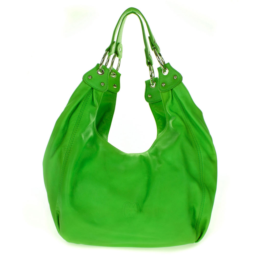 Cosette Italian Made Green Soft Leather Slouchy Hobo Shoulder Bag