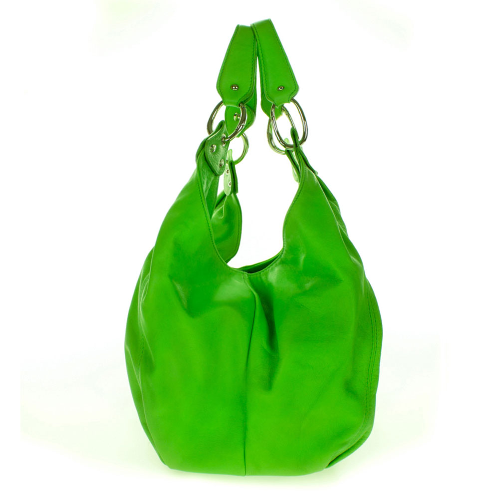 87c59c50bb Cosette Italian Made Green Soft Leather Slouchy Hobo Shoulder Bag